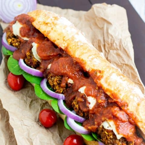 Vegan Meatball Sandwich on brown paper