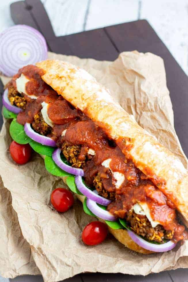 Vegan Meatball Sandwich on brown paper