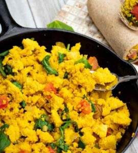 tofu scramble in cast iron pan