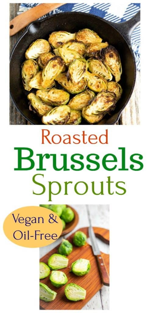 vegan roasted brussels sprouts photo collage for pinterest