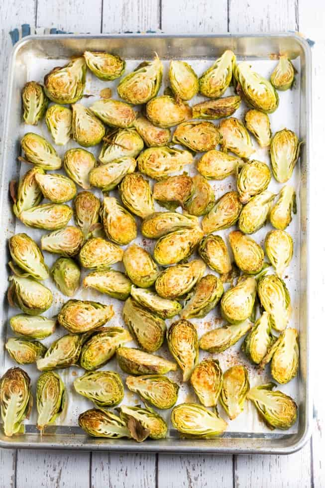 sliced brussels sprouts on baking pan