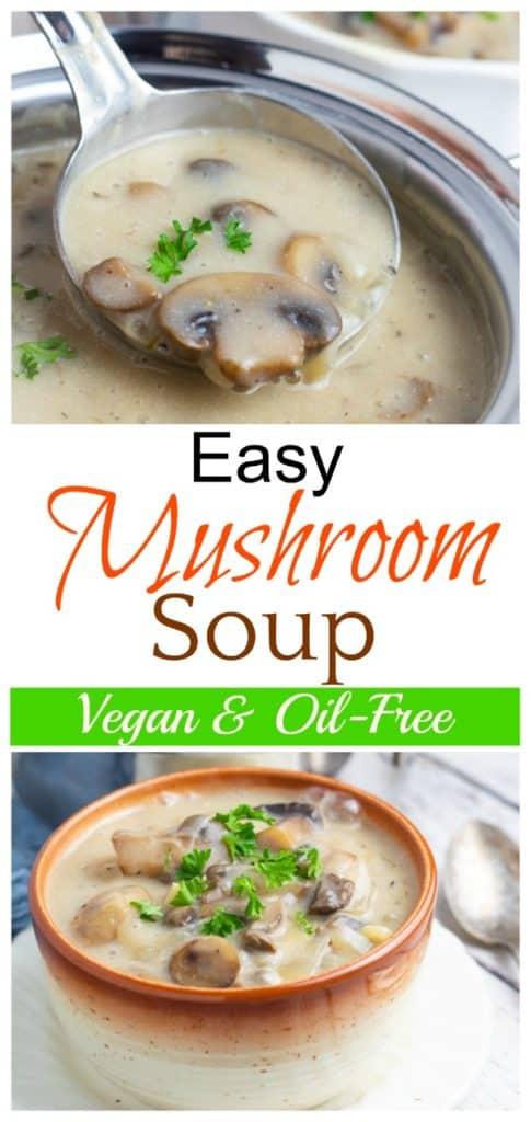 vegan mushroom soup pinterest collage