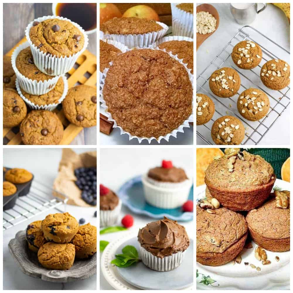 collage of vegan muffin recipes