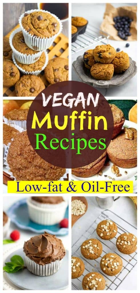 pinterest photo collage of vegan muffins