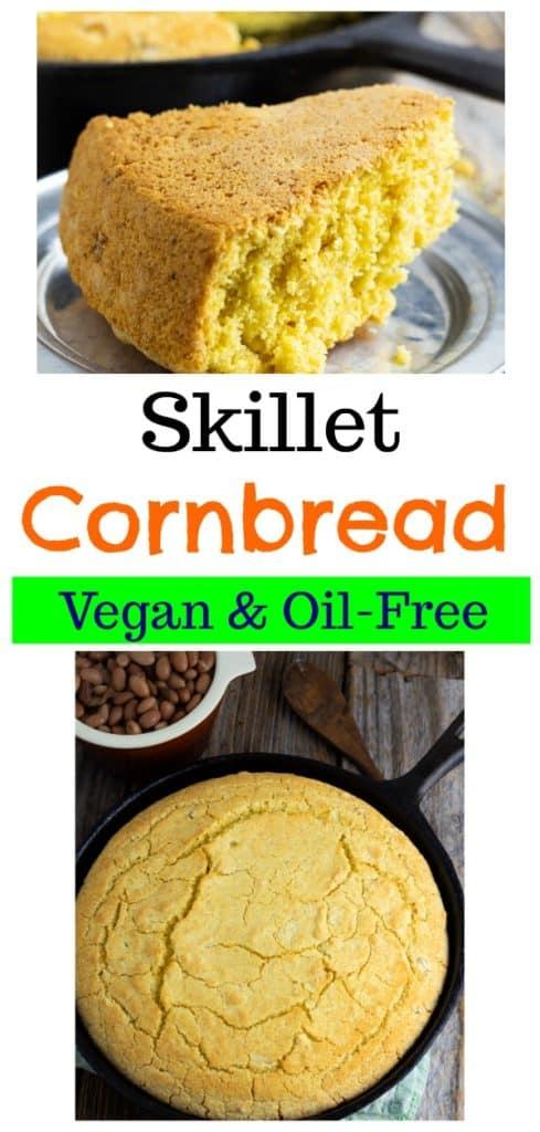vegan cornbread photo collage for pinterest