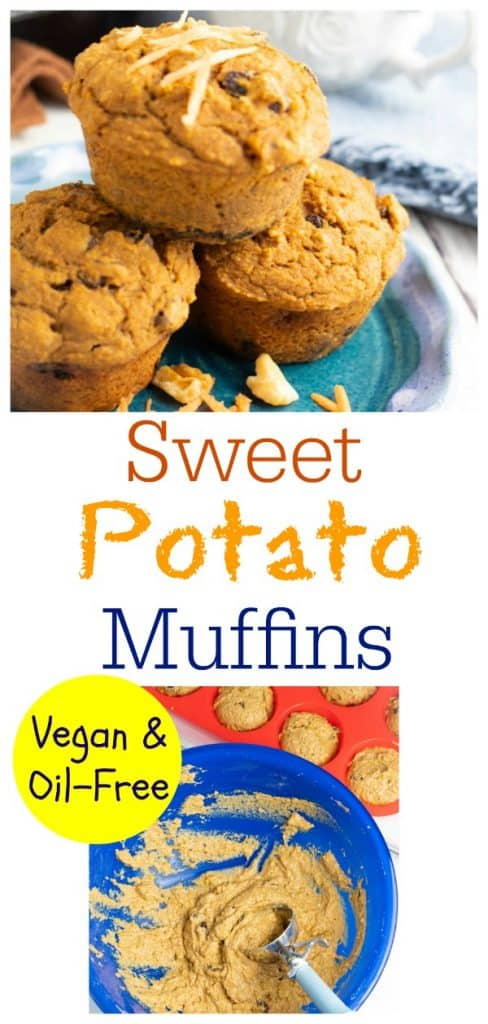 vegan sweet potato muffin photo collage for pinterest
