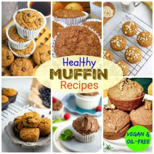 collage of healthy dairy free muffin recipes