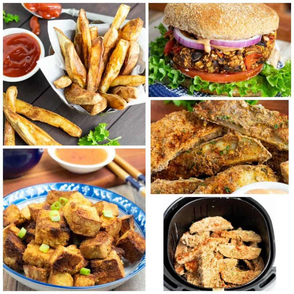 vegan air fryer recipes photo collage