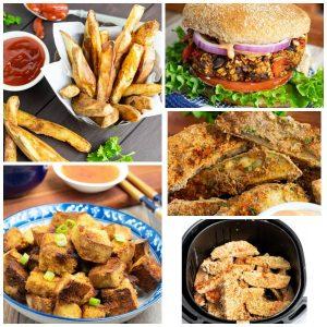 vegan air fryer recipes photo collage