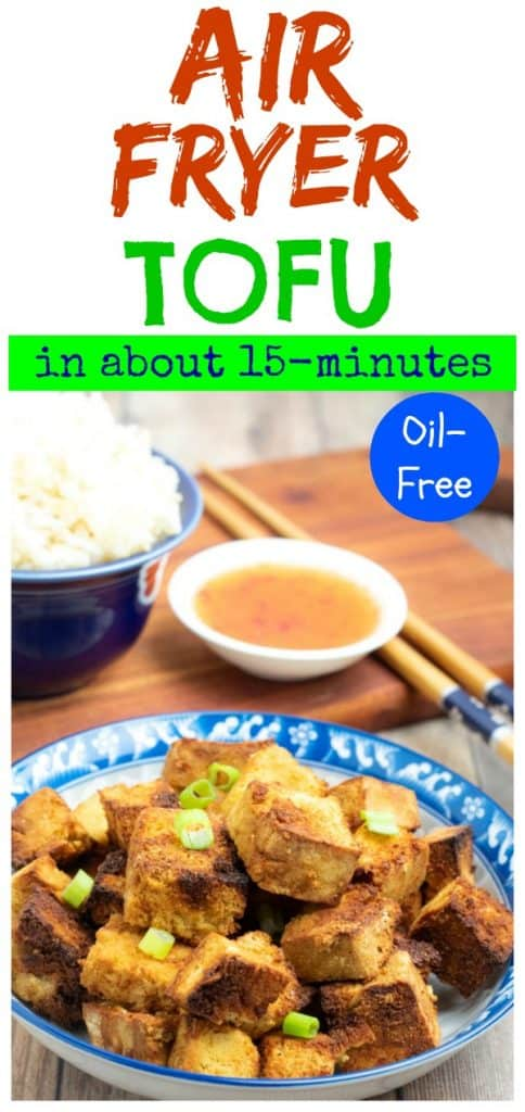 air fryer tofu photo collage for pinterest