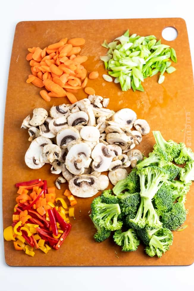 diced vegetables on brown cutting board