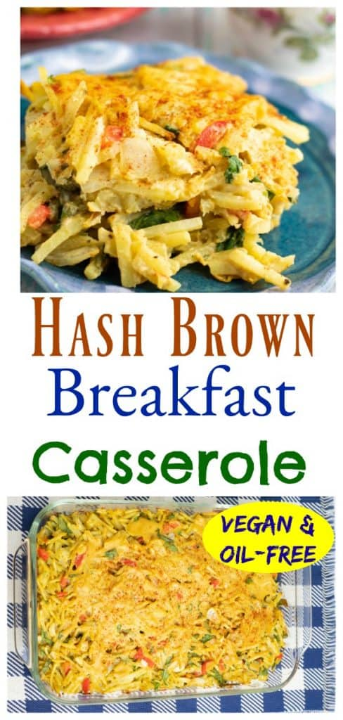 vegan hash brown breakfast casserole photo collage for pinterest