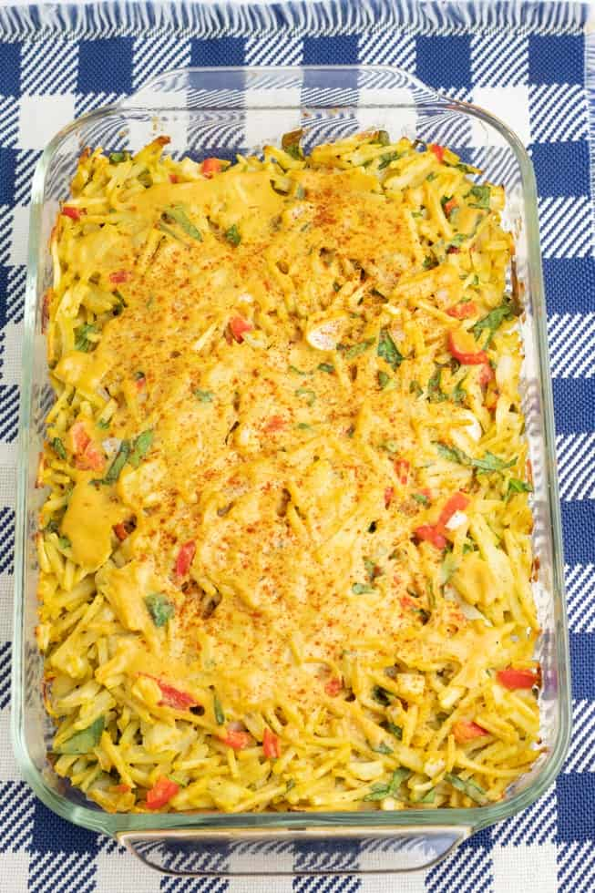 hash brown casserole in glass baking dish after baked