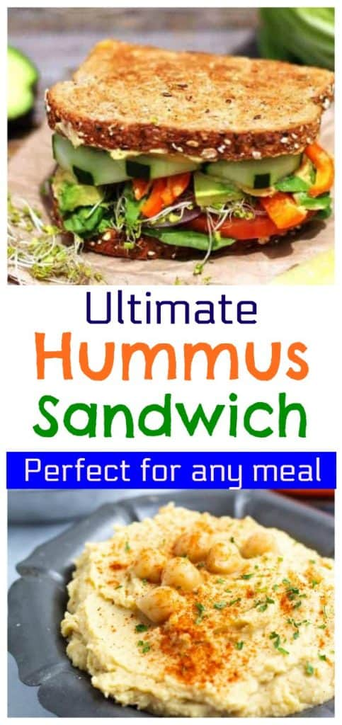 hummus sandwich photo collage for pinterest