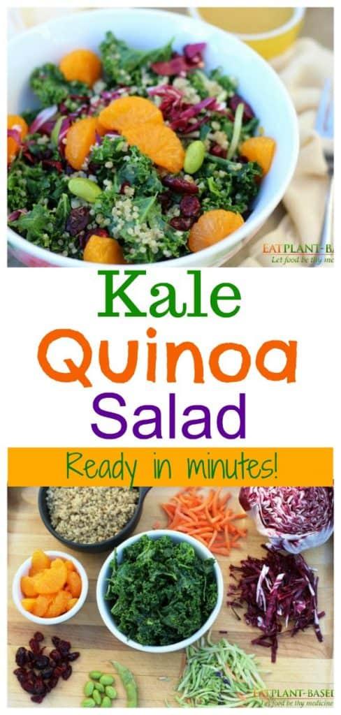 kale quinoa salad photo collage for pinterest