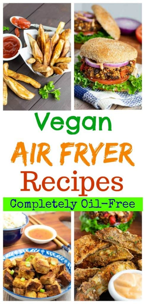 vegan air fryer recipes photo collage for pinterest