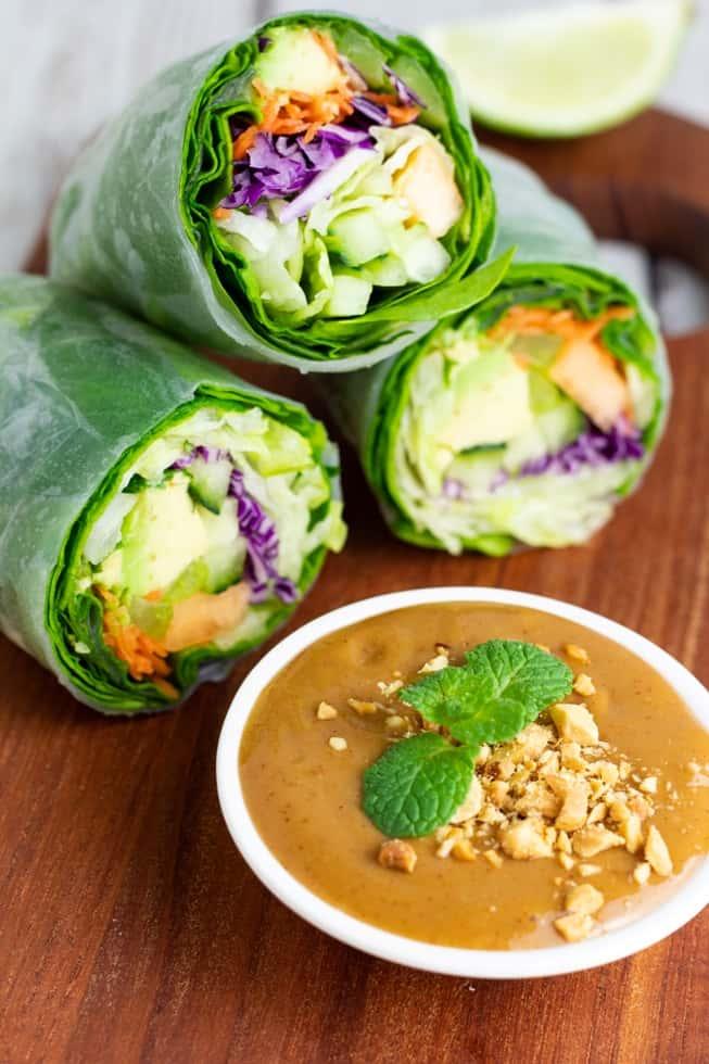garden rolls on wooden table with peanut sauce