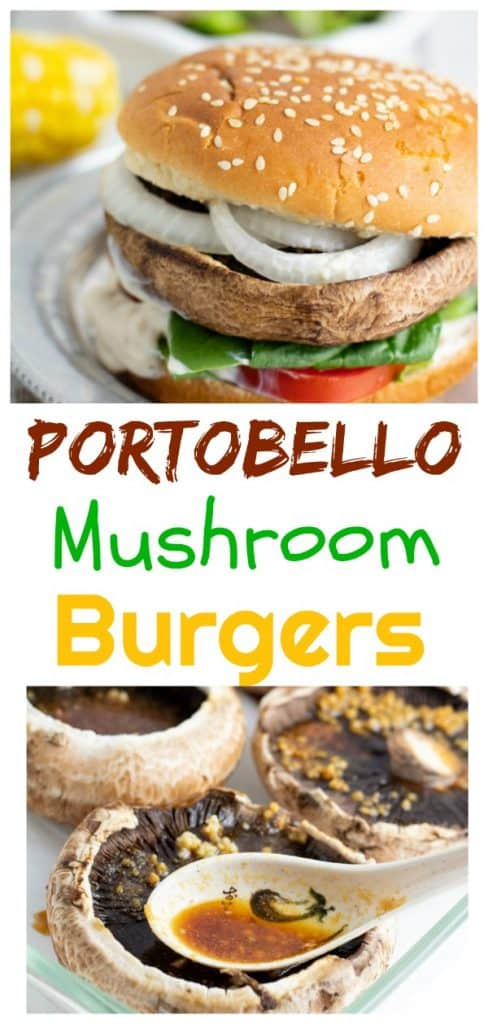 portobello mushroom burger photo collage for pinterest