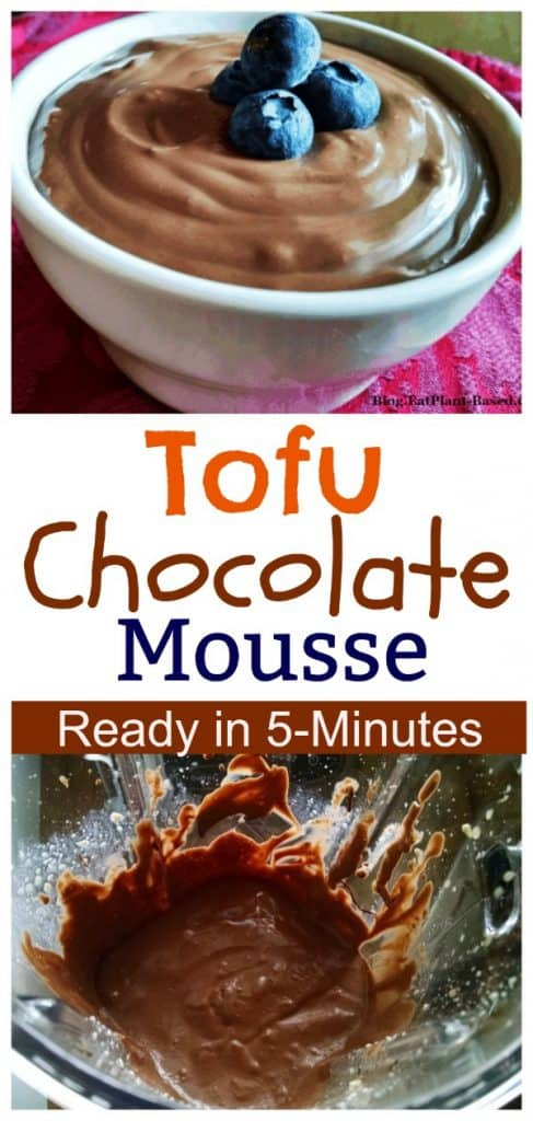tofu chocolate mousse photo collage for pinterest