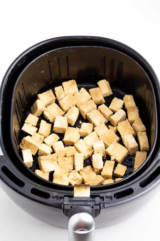 tofu in black air fryer