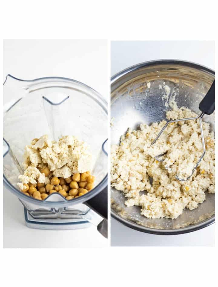 double photo with blender on one side and bowl with potato masher on the other both with tofu and chickpeas