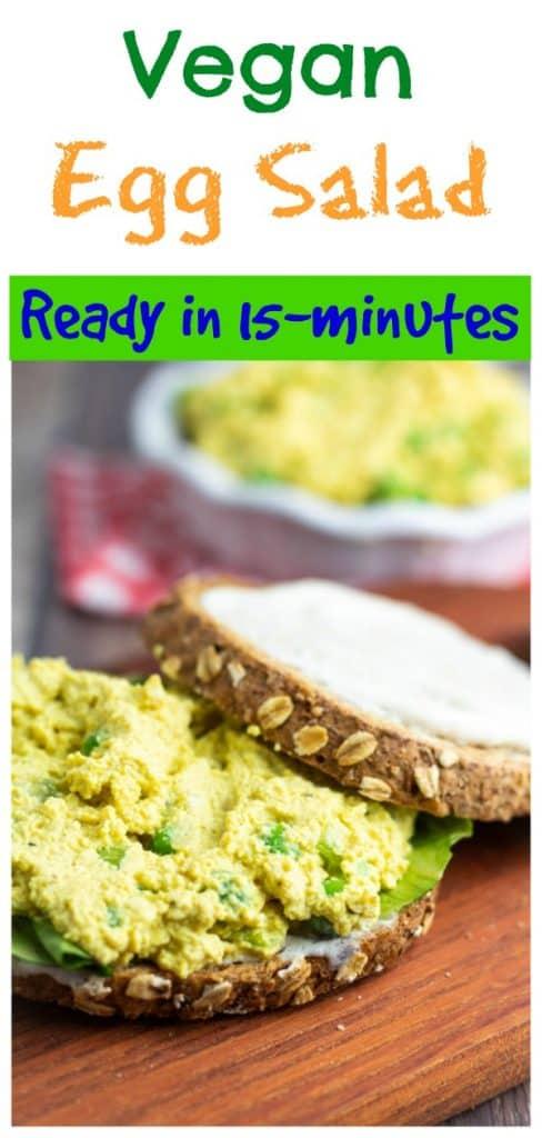 vegan egg salad photo collage for pinterest