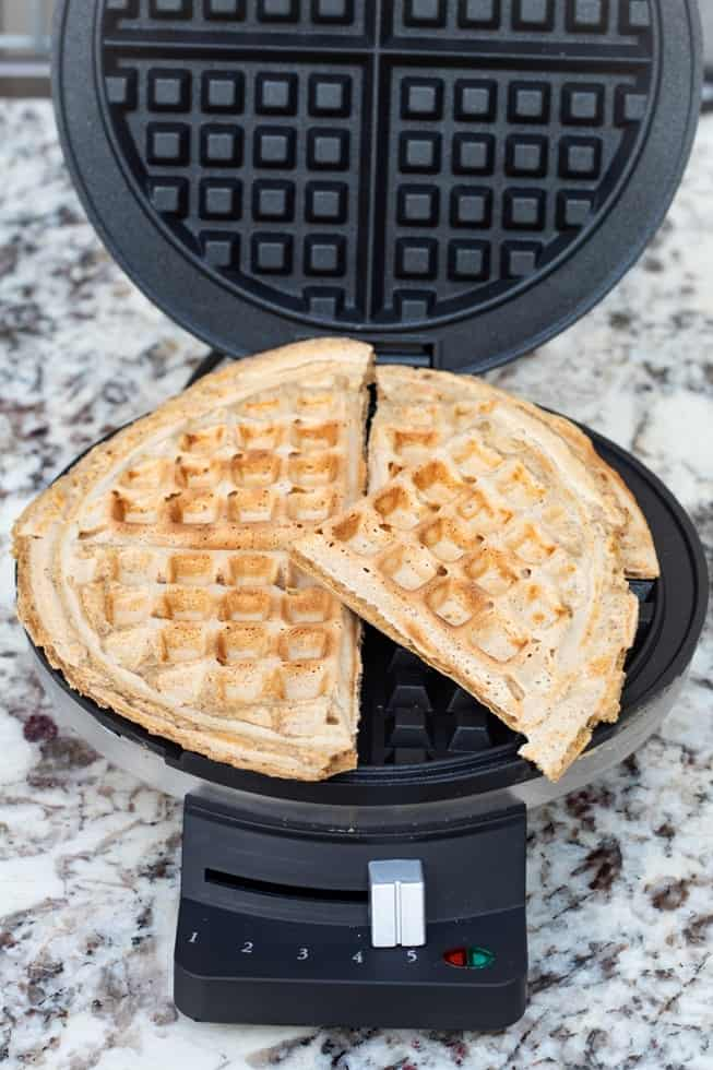 cooked waffles in open waffle maker
