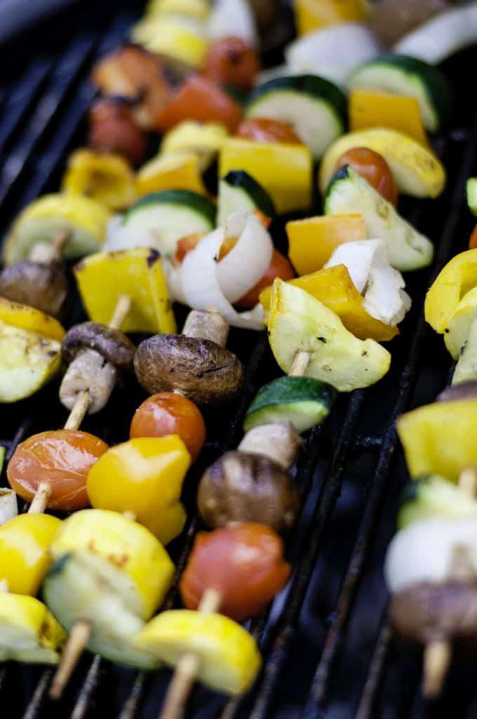 vegan kebabs on black grill plate