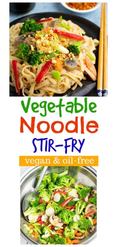 photo collage of vegetable rice noodle stir fry for pinterest