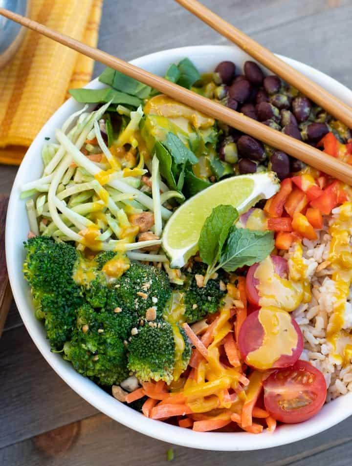 veggie bowl with chopsticks on side