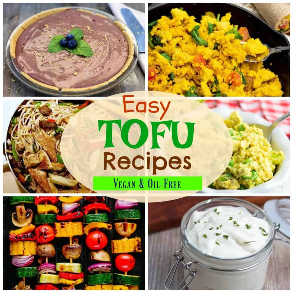 tofu recipe photo collage for pinterest
