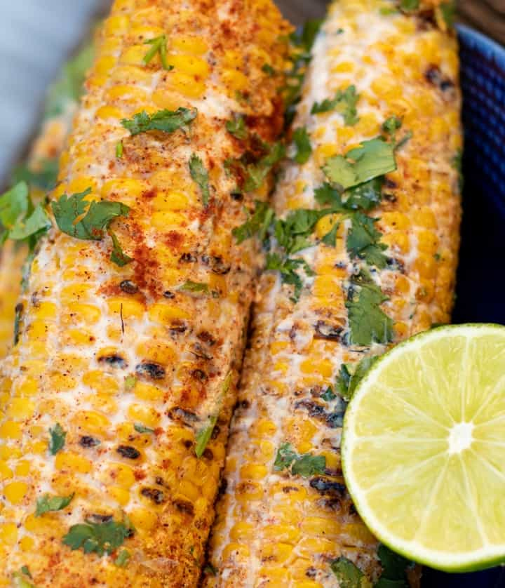mexican street corn on the cob with lime