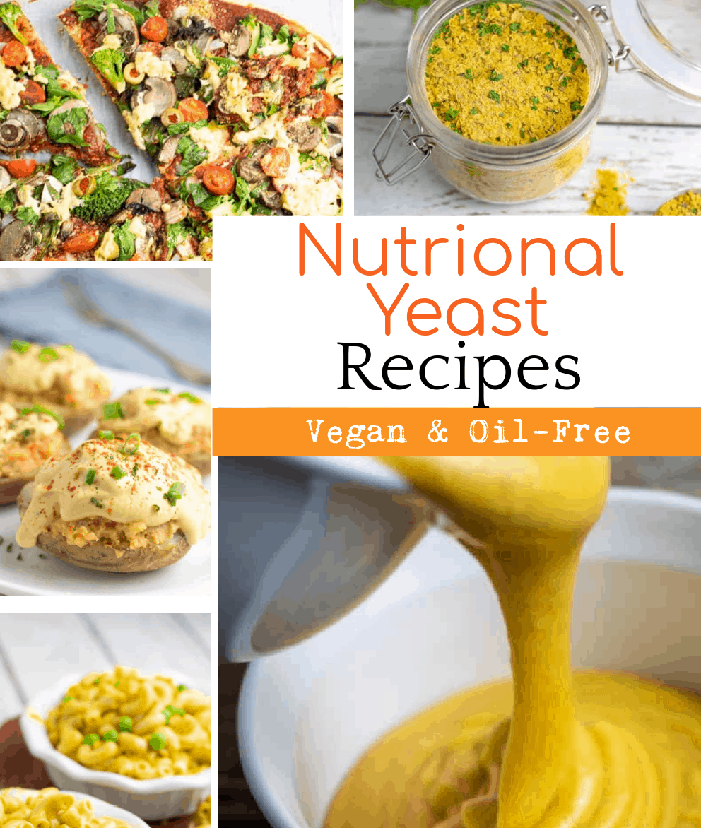 collage of vegan nutritional yeast recipes