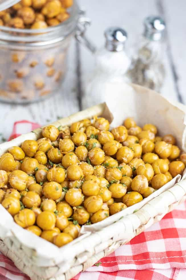 chickpea snack in basket on red checker napkin