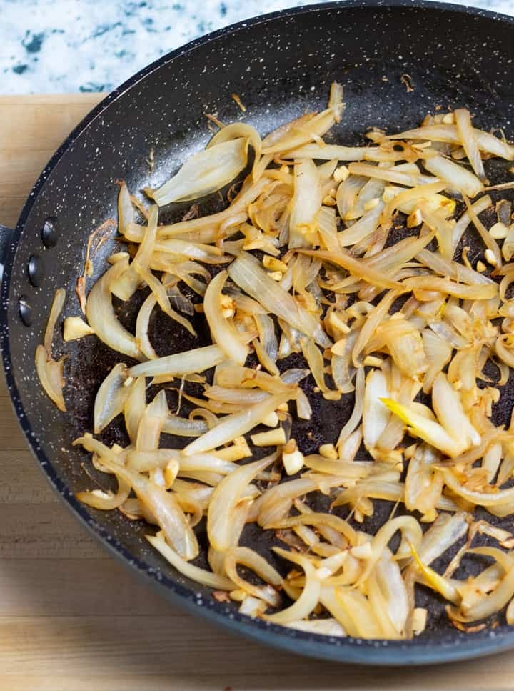 fry pan with sauted onions