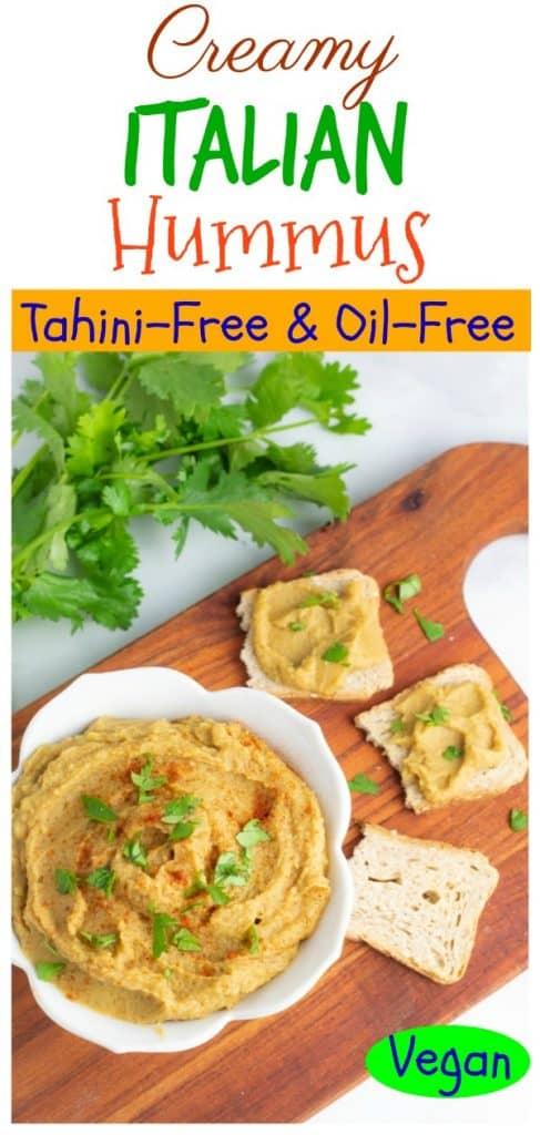 photo collage of no tahini hummu for pinterest