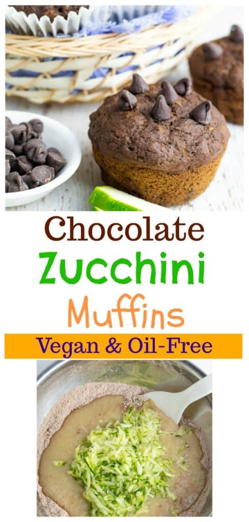 chocolate zucchini muffin photo collage for pinterest