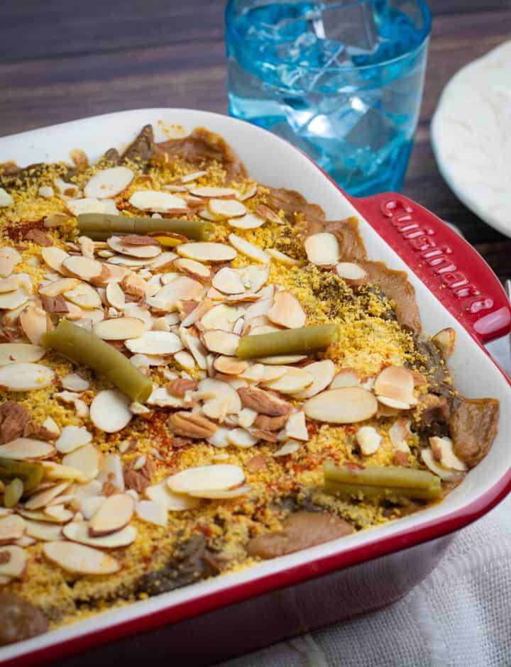 green bean casserole in red baking dish