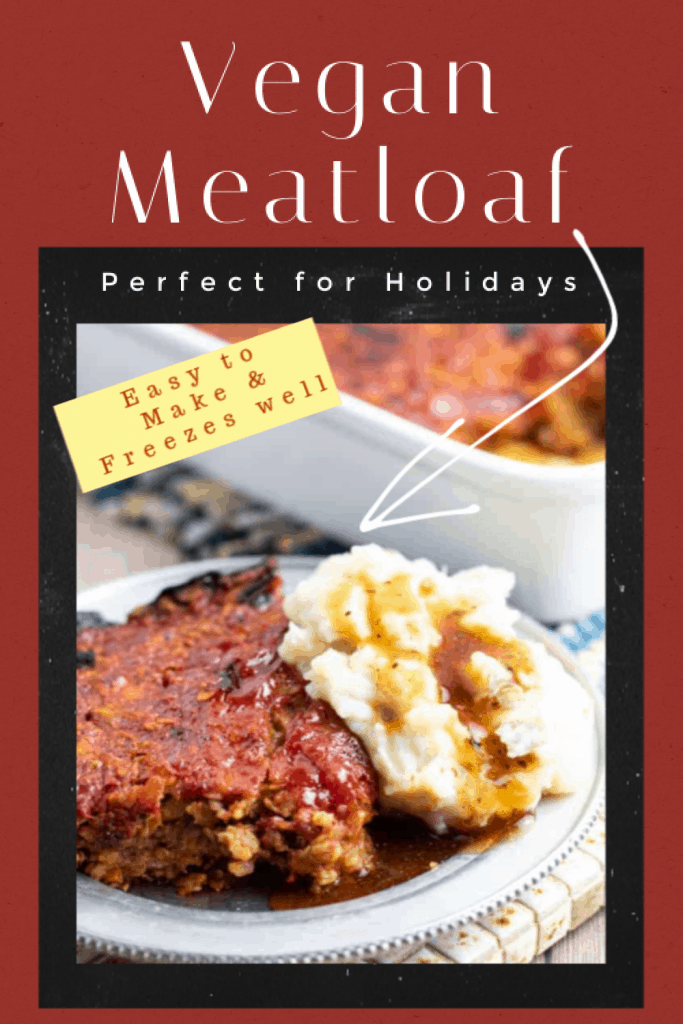 vegan meatloaf photo collage for pinterest