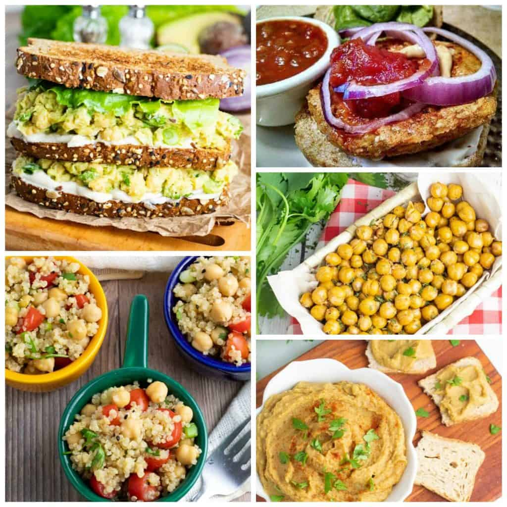 chickpea recipes photo collage for pinterest