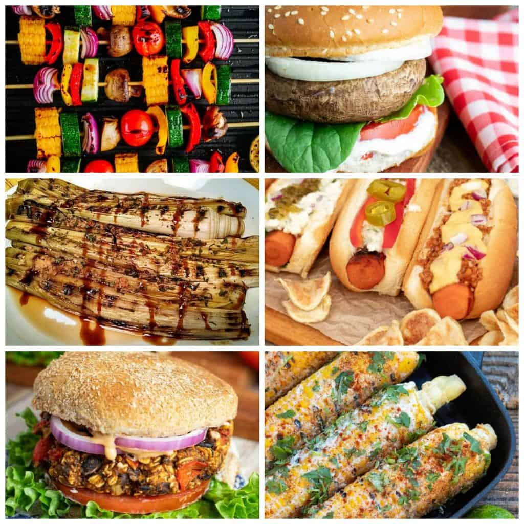 collage of vegan grilling recipes kabobs, burgers, carrot dogs