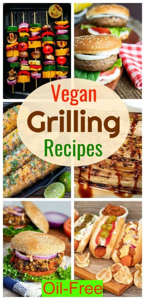 collage of vegan grilling recipes kabobs, burgers, carrot dogs for pinterest