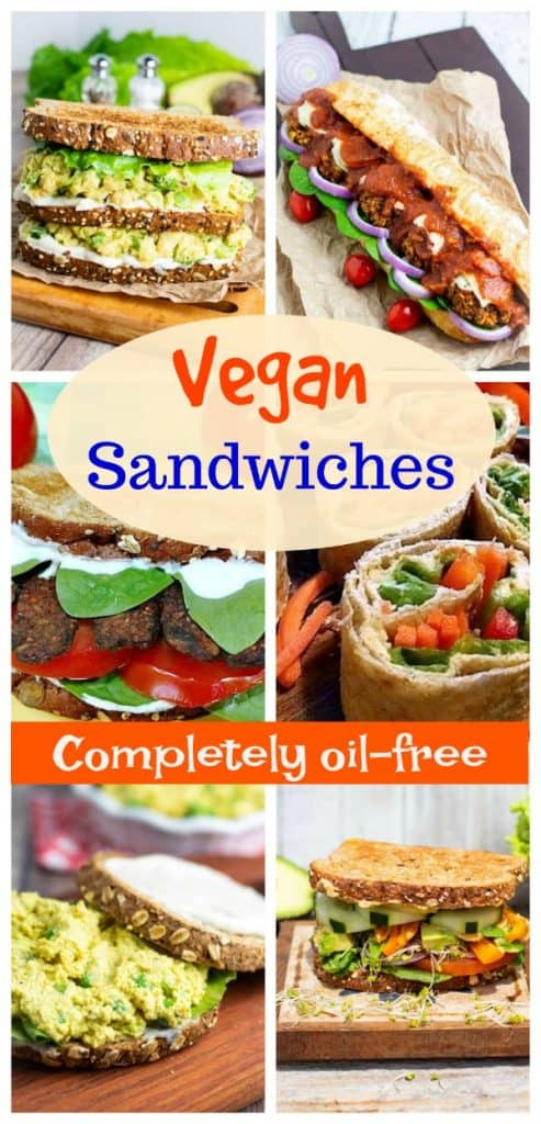photo collage of vegan sandwiches for pinterest