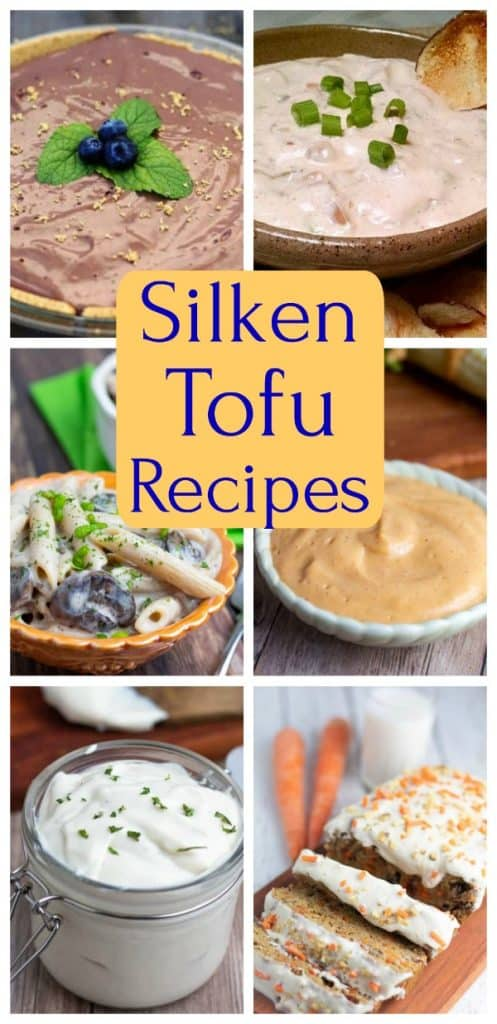 silken tofu photo collage for pinterest