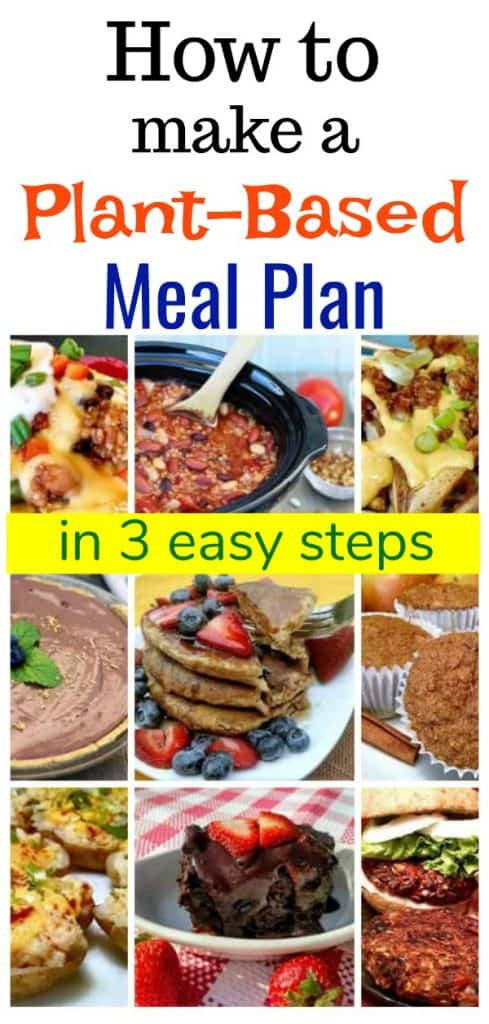 wfpb meal planner photo collage for pinterest