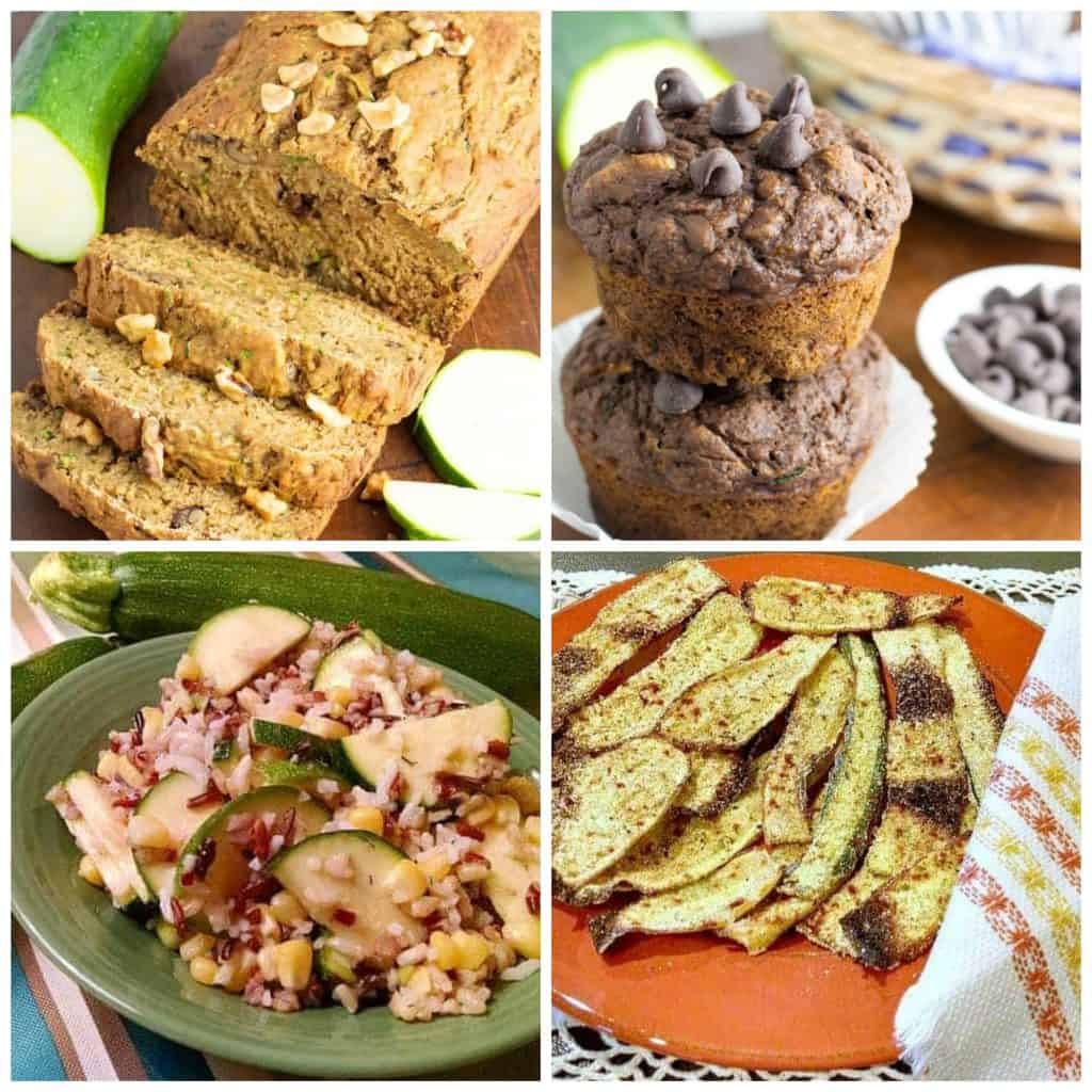 4 photos of zucchini recipes bread, muffins, salad, baked