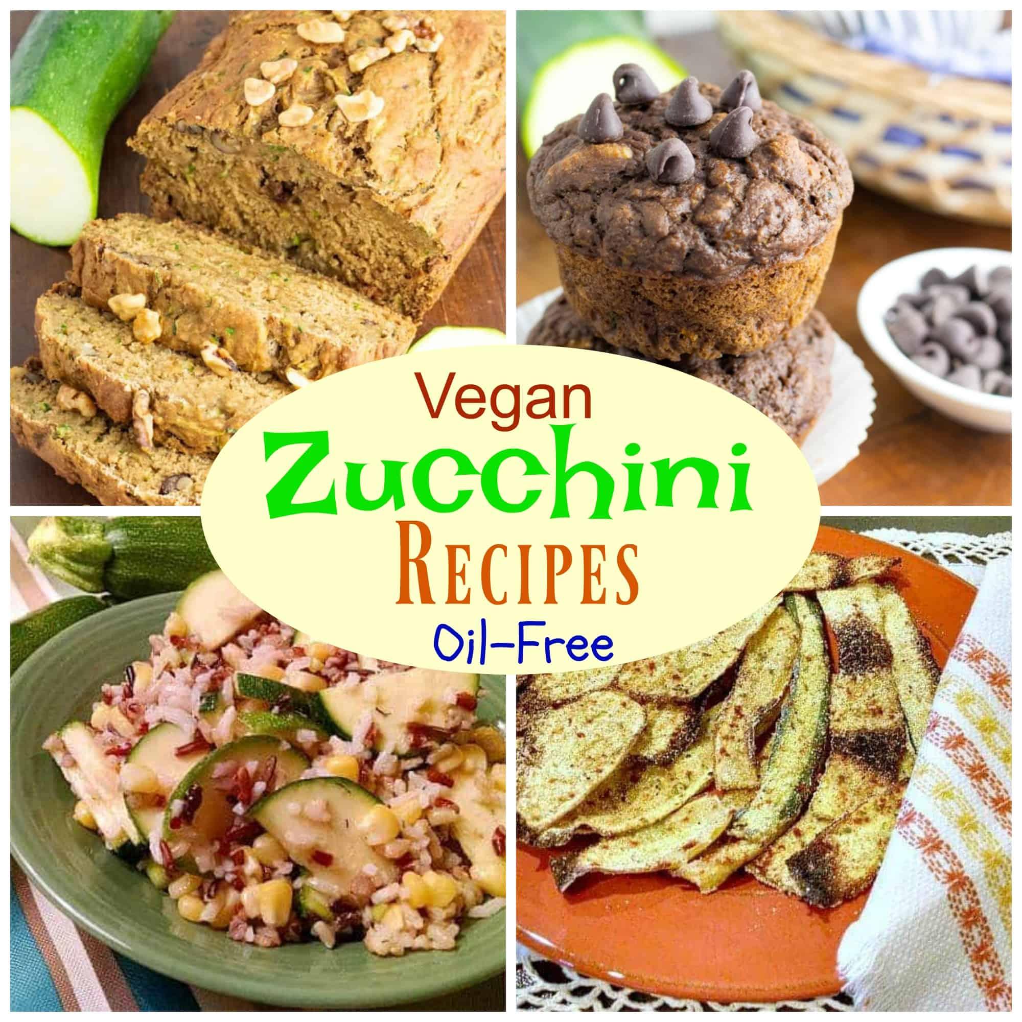 vegan zucchini recipe photo collage for pinterest