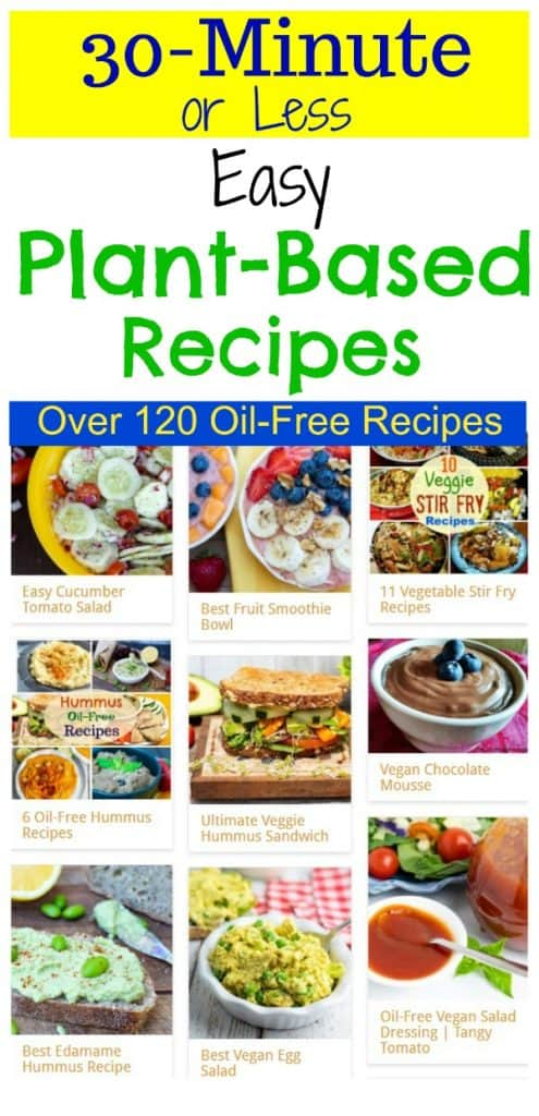 photo collage of 30 minute plant based recipes for pinterest