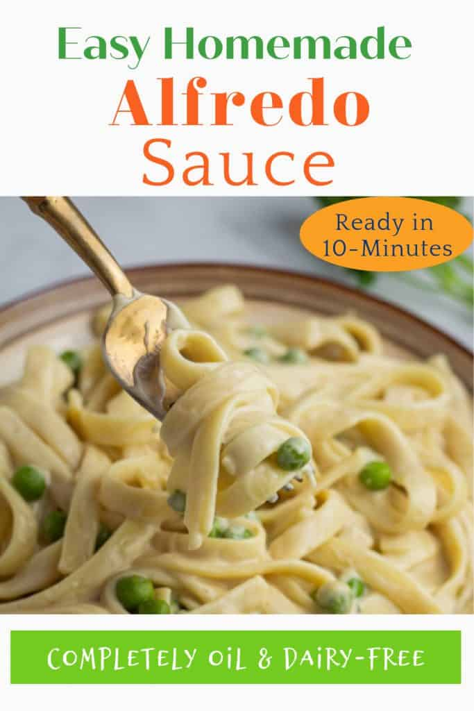 vegan alfredo pintrest photo with title