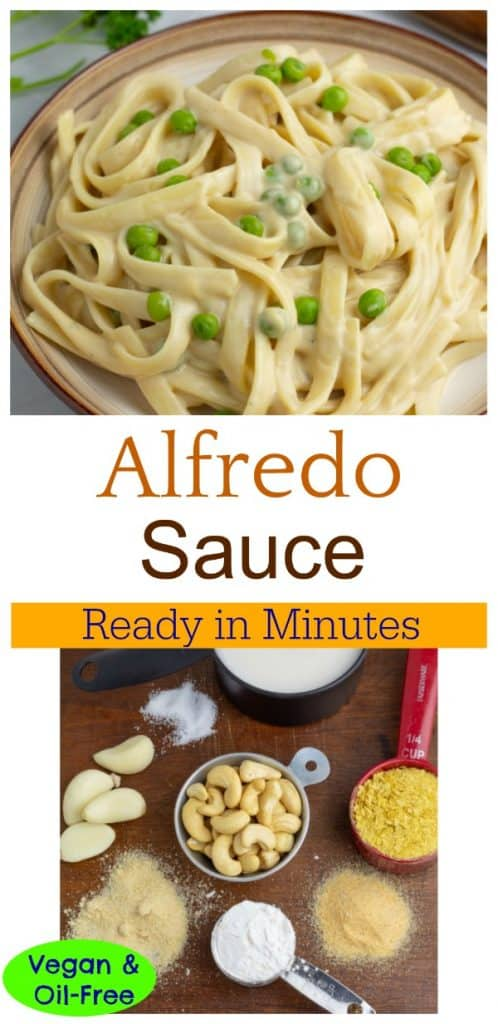 photo collage for vegan alfredo sauce
